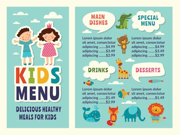 Modèle De Conception Du Menu Pour Enfants Avec Des Images Colorées Amusantes Et Placez Votre Texte Vecteur Premium