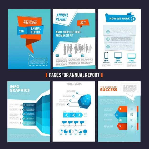 Modèle de conception du rapport annuel de la société. disposition de pages de vecteur avec la place pour votre texte Vecteur Premium