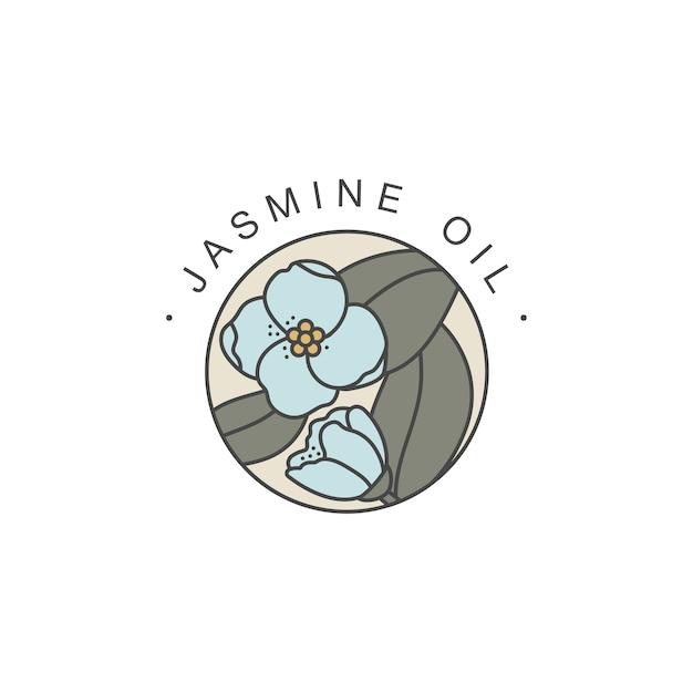 Modèle De Conception Et Emblème - Huile Saine Et Cosmétique. Huile De Jasmin Naturelle Et Biologique. Logo Coloré Dans Un Style Linéaire Branché. Vecteur Premium
