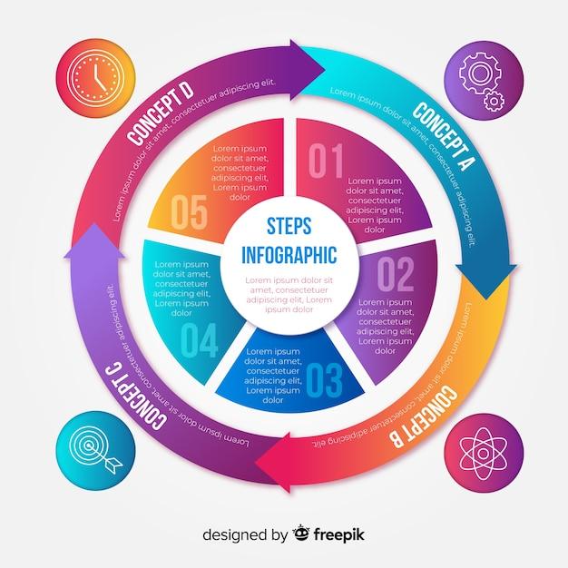 Modèle de conception d'étapes infographiques coloré Vecteur gratuit