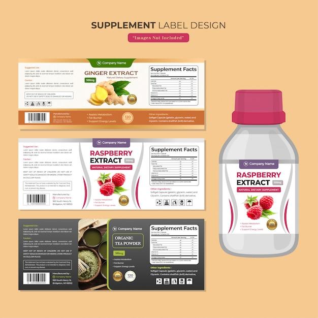 Modèle de conception d'étiquette de bouteille de supplément Vecteur Premium