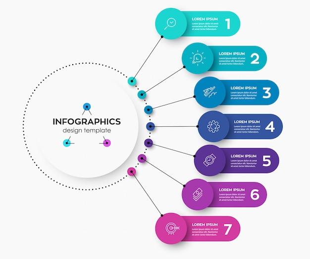 Modèle De Conception D'étiquette Infographique Avec Des Icônes Et 7 Options Ou étapes. Vecteur Premium