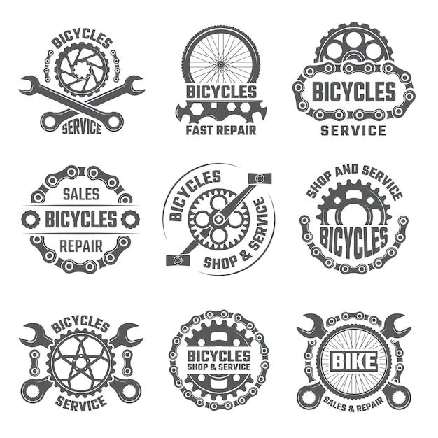Modèle de conception d'étiquettes avec engrenages, chaînes et autres pièces de vélo Vecteur Premium
