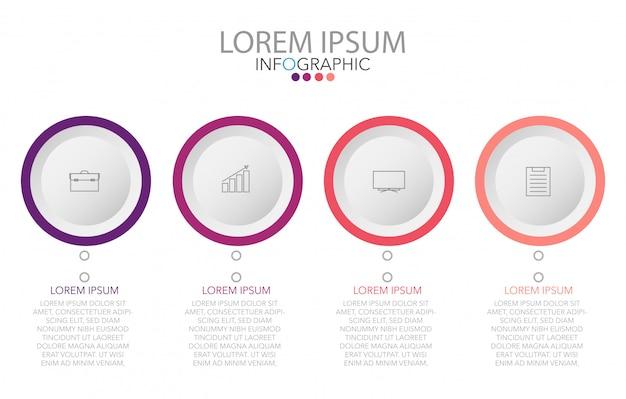 Modèle de conception d'étiquettes infographie vectorielle avec icônes et 4 options ou étapes Vecteur Premium
