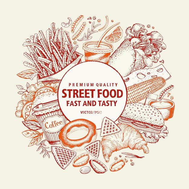 Modèle de conception de fast-food vector. bannière de nourriture de rue. Vecteur Premium