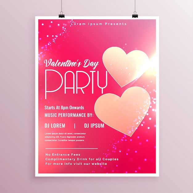 Modèle de conception de flyer brillant saint valentin Vecteur gratuit