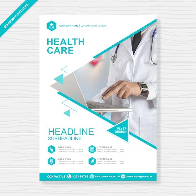 Modèle de conception de flyer couverture santé a4 Vecteur Premium
