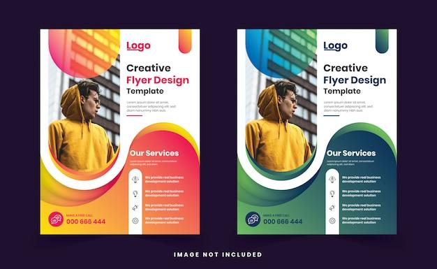 Modèle De Conception De Flyer Moderne Coloré Dégradé Créatif Vecteur Premium