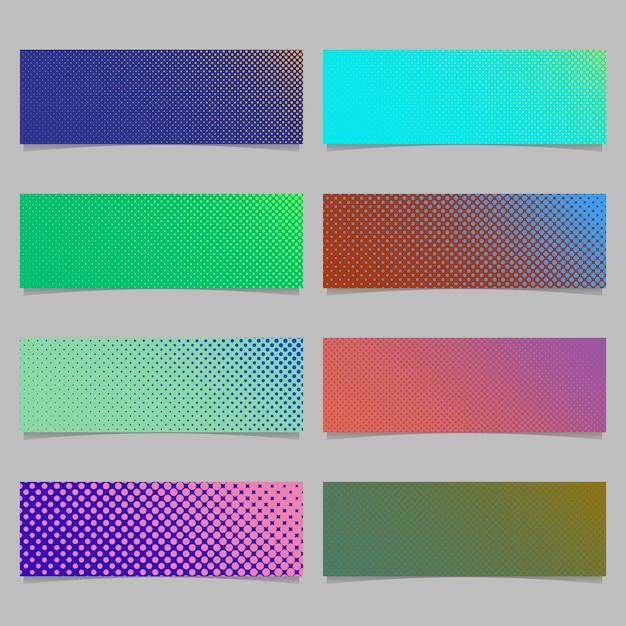 Modèle de conception de fond de modèle de motif en forme de demi-teinte abstraite numérique - graphique vectoriel rectangle horizontal avec des cercles de différentes tailles Vecteur gratuit