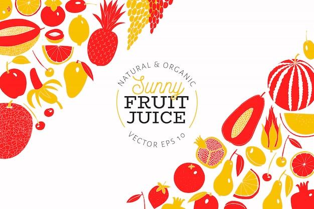 Modèle de conception de fruits dessinés à la main scandinave Vecteur Premium