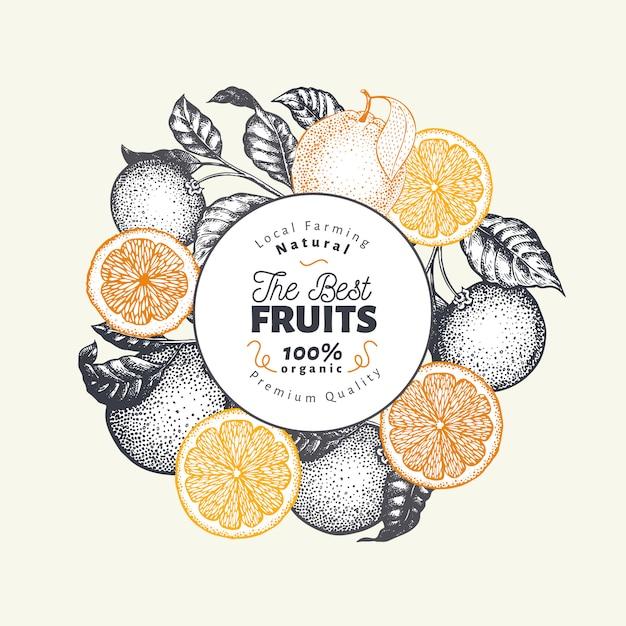 Modèle De Conception De Fruits Orange. Illustration De Fruits Vecteur Dessiné à La Main. Bannière De Style Gravé. Fond D'agrumes Rétro. Vecteur Premium