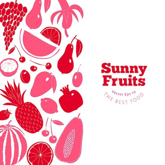 Modèle de conception de fruits scandinave dessinés à la main. Vecteur Premium