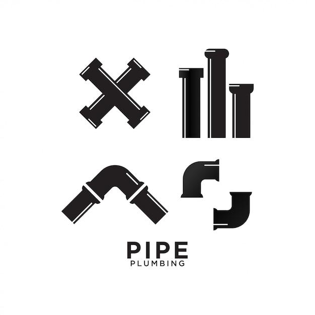 Modèle de conception graphique de tuyauterie de plomberie Vecteur Premium