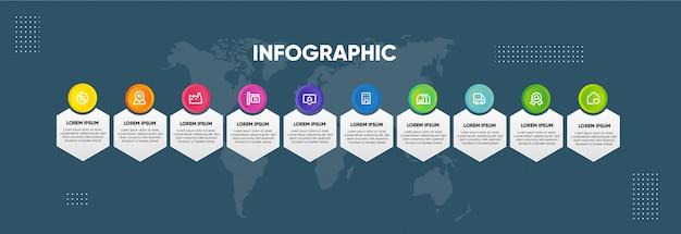 Modèle de conception horizontale couleur infographique Vecteur Premium