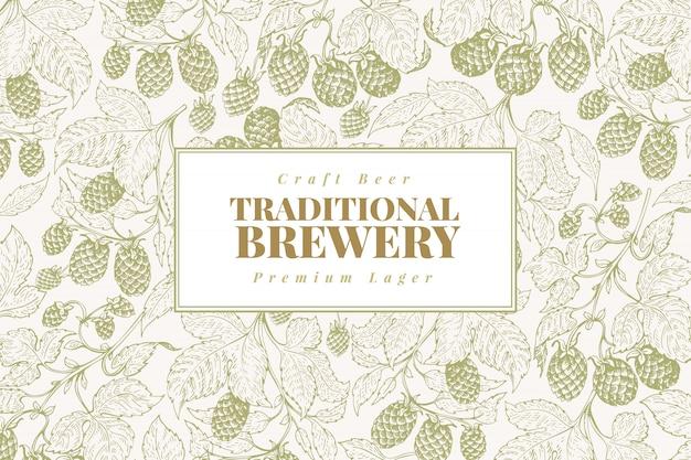 Modèle de conception de houblon de bière. Vecteur Premium