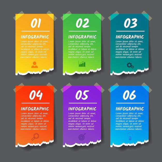Modèle De Conception Iinfographics, Bannière De Style Papier Déchiré 6 Options. Vecteur Premium