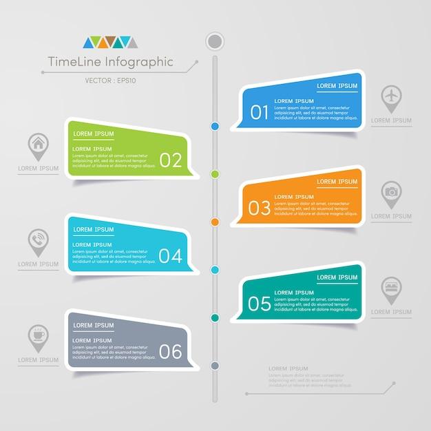 Modèle de conception infographie chronologie avec des icônes Vecteur Premium