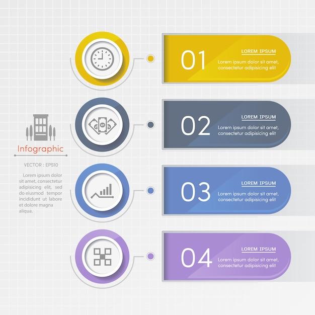 Modèle de conception infographie avec des icônes de l'entreprise Vecteur Premium