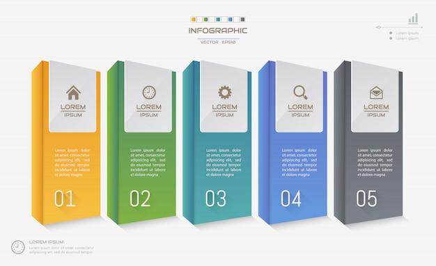 Modèle de conception infographie avec des icônes Vecteur Premium