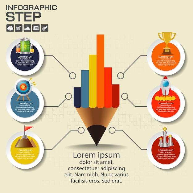 Modèle De Conception D'infographie Avec Options, Diagramme De Processus Vecteur Premium