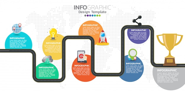 Modèle de conception infographie timeline avec 8 options, diagramme de processus. Vecteur Premium
