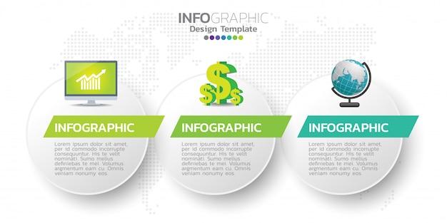 Modèle de conception infographie trois étapes. Vecteur Premium