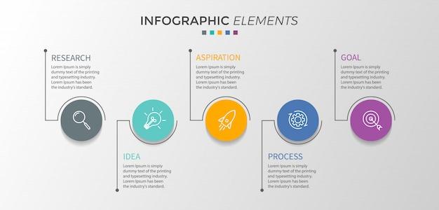 Modèle de conception infographie vectorielle avec cinq options ou étapes. Vecteur Premium