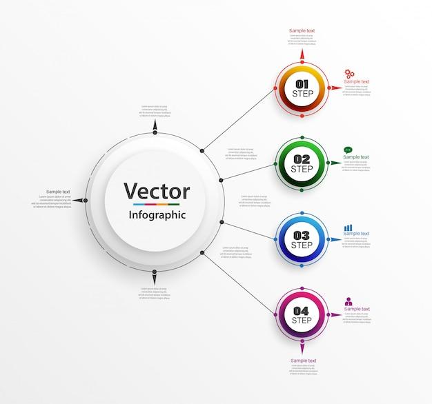 Modèle de conception infographique avec 4 options ou étapes Vecteur Premium