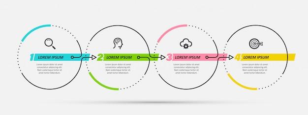 Modèle De Conception Infographique Avec 4 Options Ou étapes. Vecteur Premium
