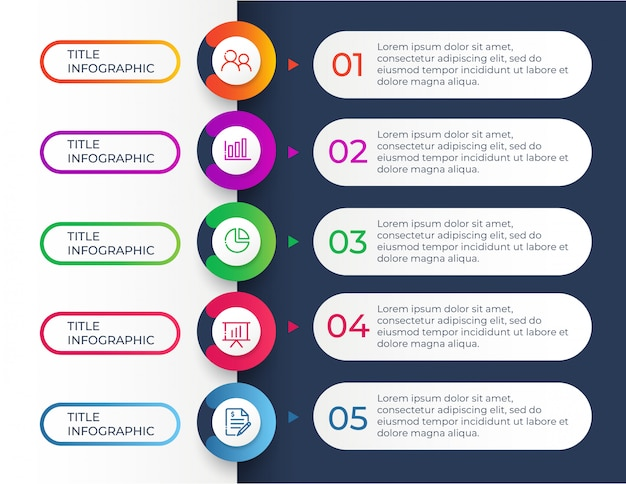 Modèle de conception infographique avec 5 étapes d'options Vecteur Premium
