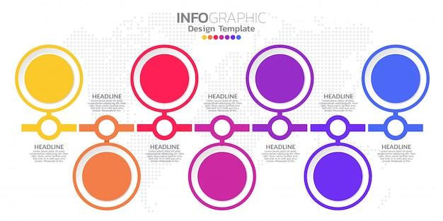 Modèle de conception infographique avec 7 options de couleur. Vecteur Premium