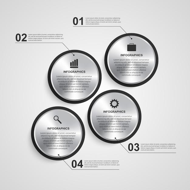 Modèle de conception infographique cercle abstrait. Vecteur Premium