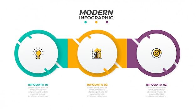 Modèle de conception infographique avec des cercles. concept d'entreprise avec 3 options, étapes. peut être utilisé pour un diagramme de flux de travail, un graphique d'information, un graphique, un design web. vecteur Vecteur Premium