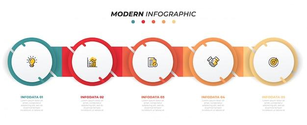 Modèle de conception infographique avec des cercles. concept d'entreprise avec 5 options, étapes. peut être utilisé pour un diagramme de flux de travail, un graphique d'information, un graphique, un design web. vecteur Vecteur Premium