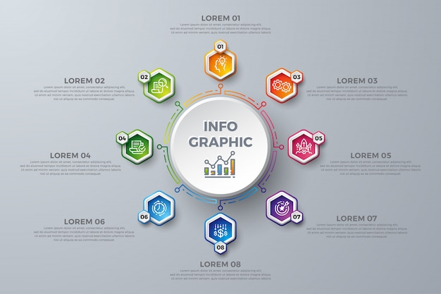 Modèle de conception infographique coloré avec 8 choix de processus ou étapes. Vecteur Premium