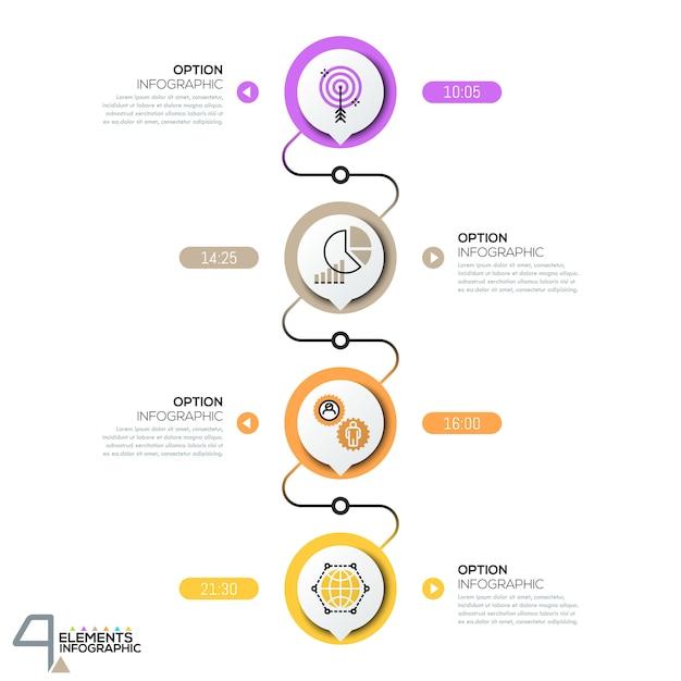 Modèle De Conception Infographique, Diagramme Avec Des éléments Circulaires Reliés Successivement Par Des Lignes Vecteur Premium