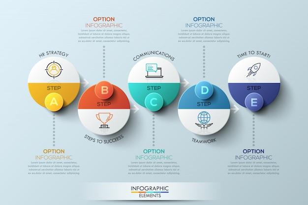 Modèle de conception infographique avec éléments circulaires Vecteur Premium
