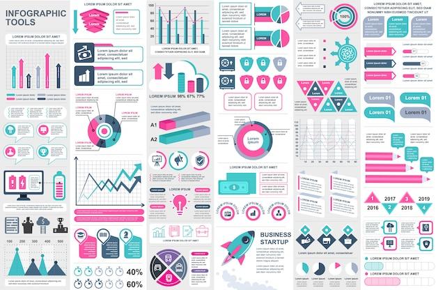 Modèle de conception infographique éléments vectoriels Vecteur Premium
