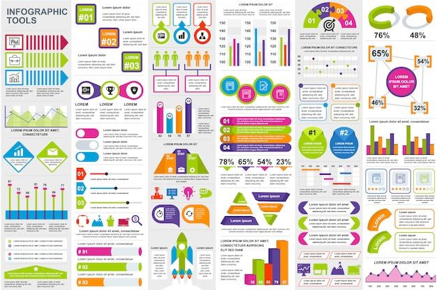 Modèle de conception infographique éléments visualisation de données vecteur Vecteur Premium