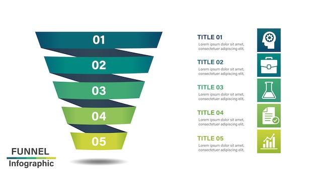 Modèle de conception infographique en entonnoir avec 5 étapes. Vecteur Premium