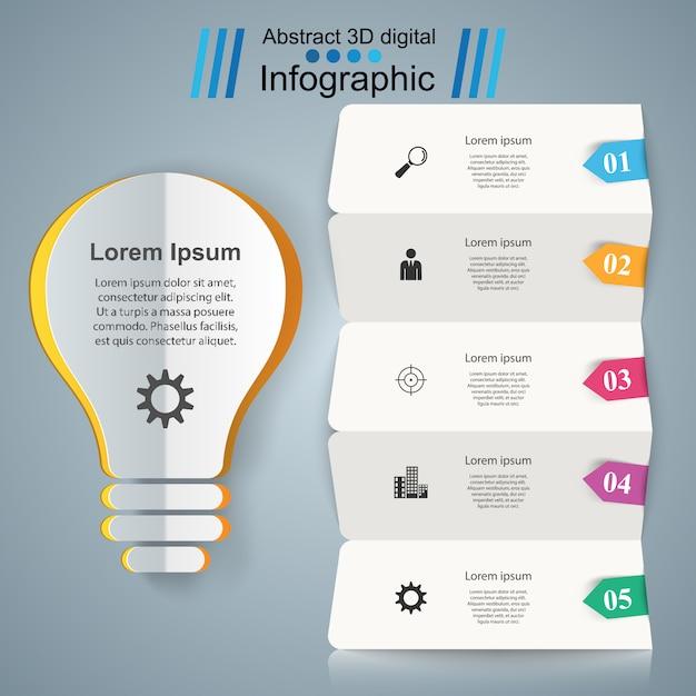 Modèle de conception infographique et icônes marketing. icône de l'ampoule. icône de la lumière. Vecteur Premium