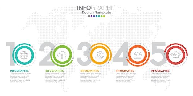 Modèle de conception infographique avec des icônes et des nombres. Vecteur Premium