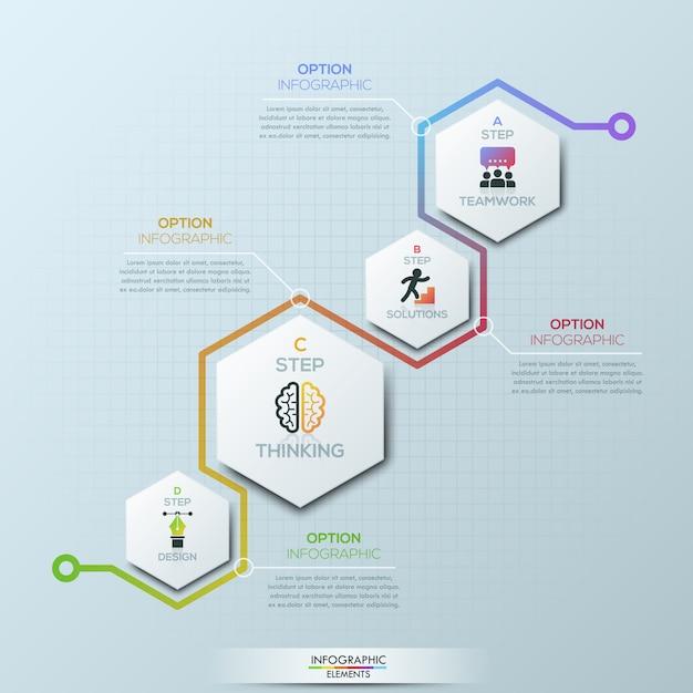 Modèle De Conception Infographique Inhabituel. 4 éléments Hexagonaux Avec Pictogrammes Et Zones De Texte Vecteur Premium