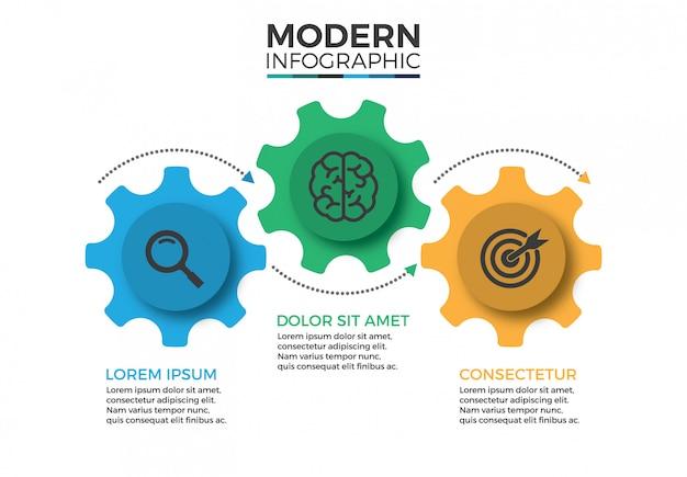 Modèle de conception infographique de mécanisme commercial avec icônes et 3 options ou étapes Vecteur Premium