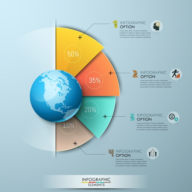 Modèle De Conception Infographique. Quatre éléments Sectoriels Avec Indication De Pourcentage Placés Autour Du Globe Et Connectés Avec Des Zones De Texte Vecteur Premium