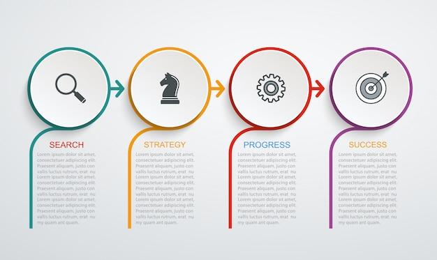 Modèle de conception infographique avec structure en 4 étapes. données commerciales, organigramme, camembert avec lignes. Vecteur Premium