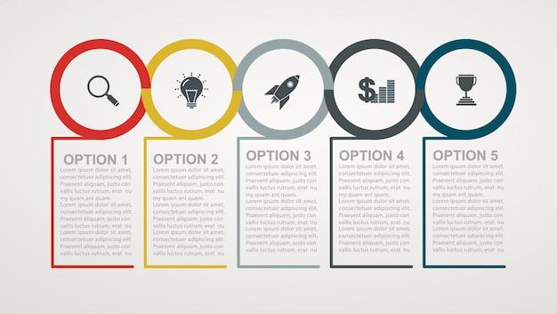 Modèle de conception infographique avec structure en 5 étapes. concept de réussite commerciale, organigramme. Vecteur Premium