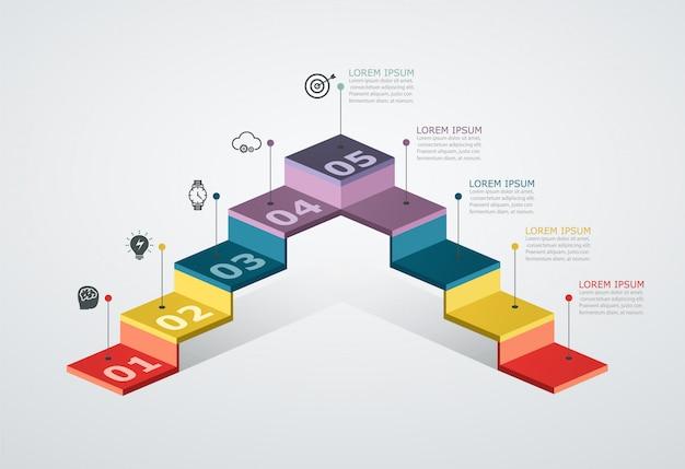 Modèle De Conception Infographique Avec Structure En étapes. Concept D'entreprise Avec 5 Pièces D'options. Vecteur Premium