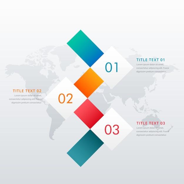Modèle de conception infographique à trois étapes créatif pour les diagrammes de flux de travail des entreprises Vecteur Premium