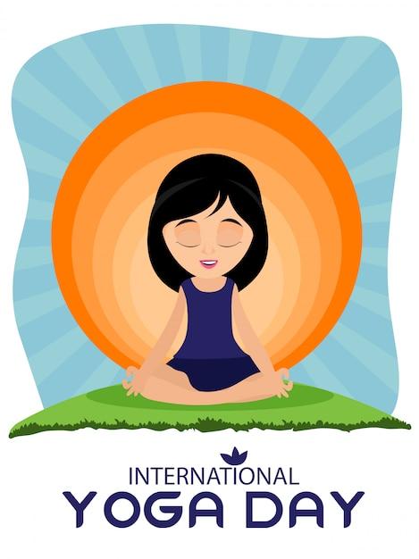 Modèle de conception de jour de yoga international Vecteur Premium